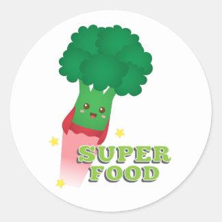 Verdura linda del bróculi, comida estupenda pegatina redonda