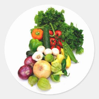 Verduras clasificadas pegatina redonda