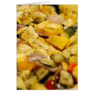 Verduras cocidas al vapor tarjeta de felicitación