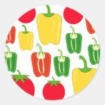 Verduras coloridas etiquetas redondas
