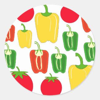 Verduras coloridas pegatina redonda