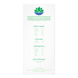 Verduras de ensalada sanas menú de abastecimiento, tarjeta publicitaria personalizada
