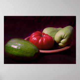 Verduras de las zonas tropicales póster