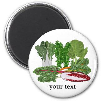 Verduras de los amantes del Veggie de los verdes Imán Redondo 5 Cm