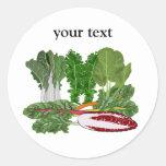 Verduras de los amantes del Veggie de los verdes Pegatina Redonda