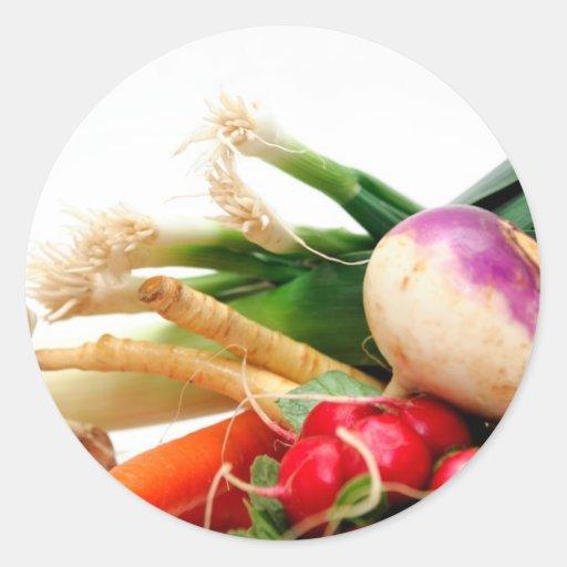 Verduras de raíz etiquetas redondas