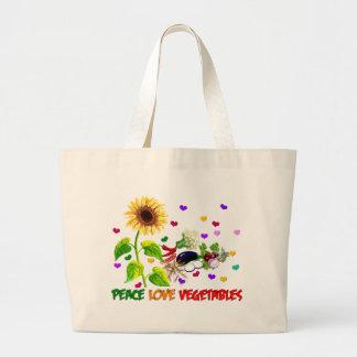 Verduras del amor de la paz bolsa de tela grande