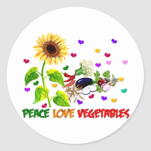 Verduras del amor de la paz etiquetas redondas