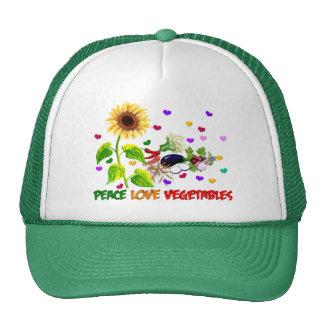 Verduras del amor de la paz gorros