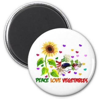 Verduras del amor de la paz imán redondo 5 cm