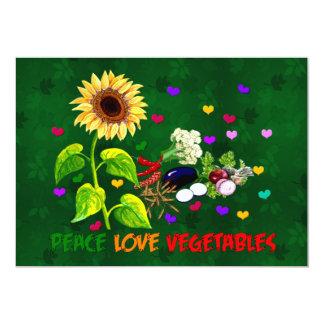 Verduras del amor de la paz invitación 12,7 x 17,8 cm