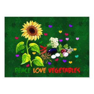 """Verduras del amor de la paz invitación 5"""" x 7"""""""