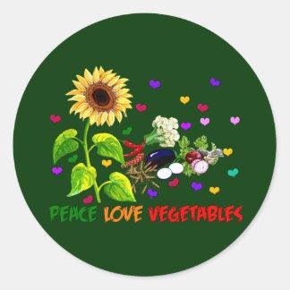 Verduras del amor de la paz pegatina