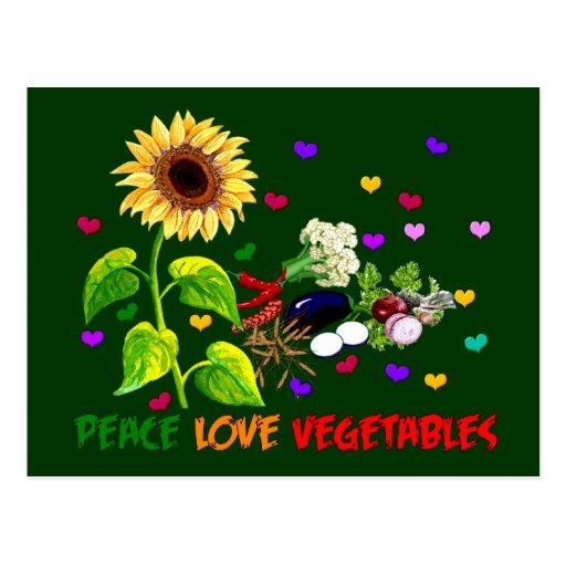 Verduras del amor de la paz postal