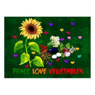 Verduras del amor de la paz tarjetas de visita grandes