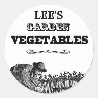 Verduras del jardín - apariencia vintage - etiquetas redondas