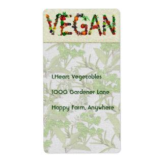 Verduras del vegano etiquetas de envío