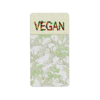 Verduras del vegano etiqueta de dirección