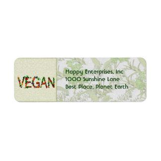 Verduras del vegano etiqueta de remite