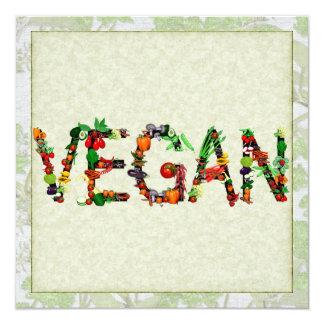 Verduras del vegano invitación 13,3 cm x 13,3cm