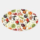 Verduras del vintage pegatina ovalada
