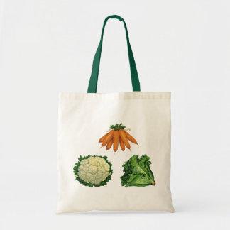 Verduras del vintage; Zanahorias, coliflor, Bolsa Tela Barata