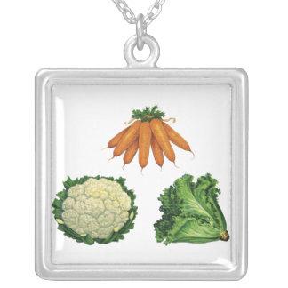 Verduras del vintage; Zanahorias, coliflor, Colgante Cuadrado