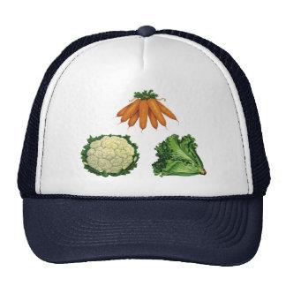 Verduras del vintage; Zanahorias, coliflor, Gorros