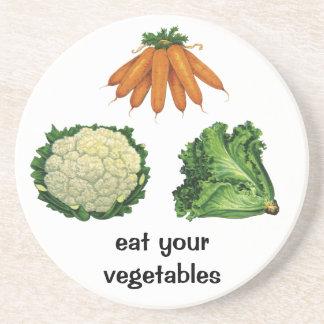 Verduras del vintage; Zanahorias, coliflor, Posavaso Para Bebida