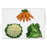 Verduras del vintage; Zanahorias, coliflor, Tarjetas