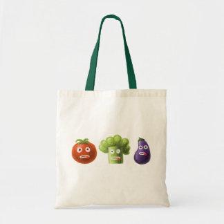 Verduras divertidas del dibujo animado bolsa tela barata
