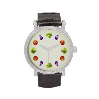 Verduras divertidas del dibujo animado relojes