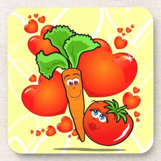 Verduras en amor, práctico de costa posavasos de bebida
