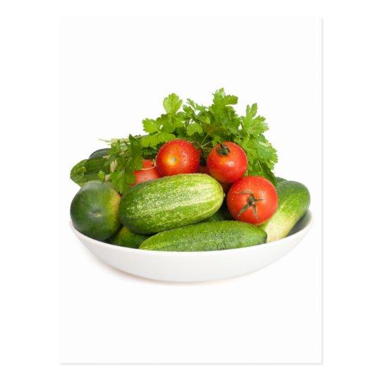 Verduras en blanco postal