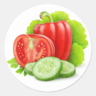Verduras frescas pegatina redonda