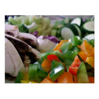 Verduras mezcladas agradable tajadas postales