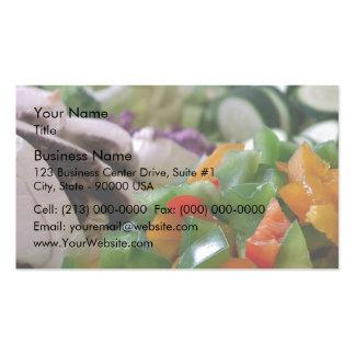 Verduras mezcladas agradable tajadas tarjetas de visita
