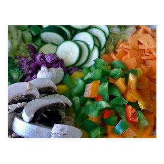 Verduras mezcladas agradable tajadas tarjeta postal