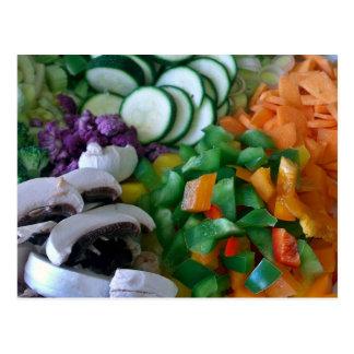 Verduras mezcladas agradable tajadas tarjetas postales