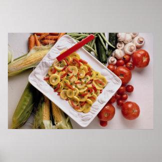 Verduras mezcladas, placa de ensalada póster