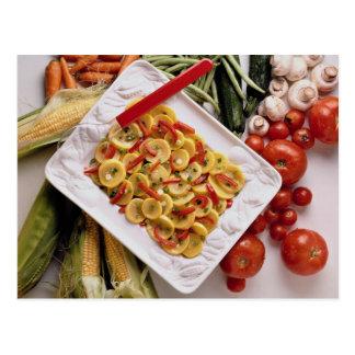 Verduras mezcladas, placa de ensalada postal