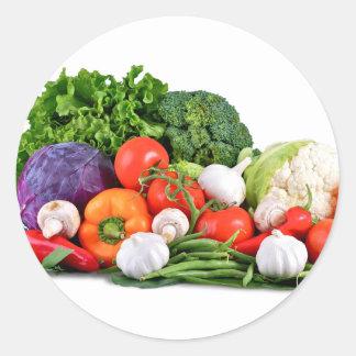 verduras etiquetas redondas