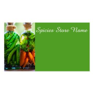 Verduras preservadas tarjetas de visita