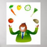 Verduras que hacen juegos malabares del hombre poster