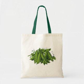 Verduras sanas de la comida del vintage, guisantes bolsa tela barata