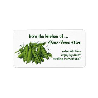 Verduras sanas de la comida del vintage, guisantes etiquetas de dirección