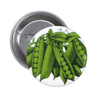 Verduras sanas de la comida del vintage, guisantes chapa redonda 5 cm