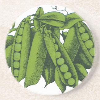 Verduras sanas de la comida del vintage, guisantes posavasos manualidades