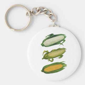 Verduras sanas de la comida del vintage, maíz fres llaveros personalizados