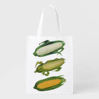 Verduras sanas de la comida del vintage, maíz fres bolsa de la compra